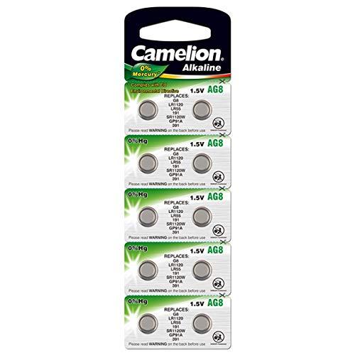 Camelion Knopfzelle, Uhrenbatterie LR55 / AG8 / G8 / LR1120 0% HG 10er Blister, Alkaline, 1,5V