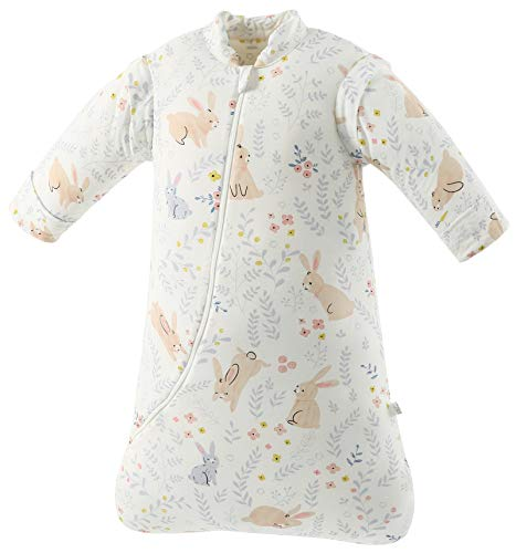 Missfly Baby Schlafsack mit abnehmbaren Ärmeln Winter Angedickte (S/Körpergröße 60-75cm, Süßes Kaninchen)