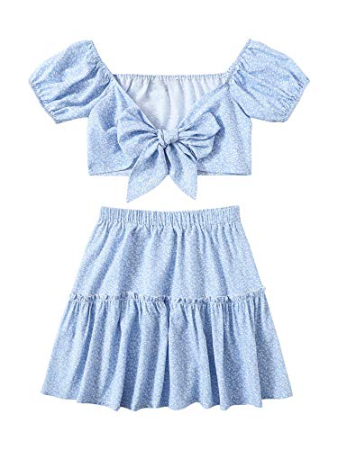 Milumia Women 2PCS Outfit Puff Sleeve Knot Front Crop Top and Elastic Waist Skirt Set Baby Blue Small