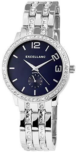 Damenuhr Blau Silber Strass Chrono-Look Analog Metall Armbanduhr