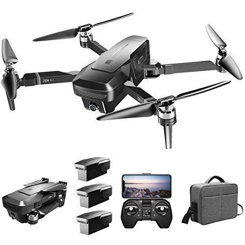 KLJJQAQ GPS RC Drone with 4K HD Front Camera and 720P Optical Flow Positioning Camera, 5G WiFi FPV Brushless Motor Drone, Headless Mode, Follow Me RC Quadcopter with 3 Battery and Handbag