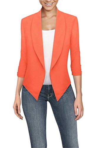 Womens Casual Work Office Open Front Blazer JK1133X NEON Coral 1X