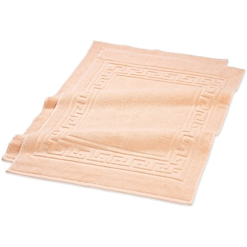 Superior Hotel & Spa Quality Bath Mat Set of 2, Made of 100% Premium Long-Staple Combed Cotton, Durable and Washable Bathroom Mat 2-Pack - Peach, 22' x 35' each