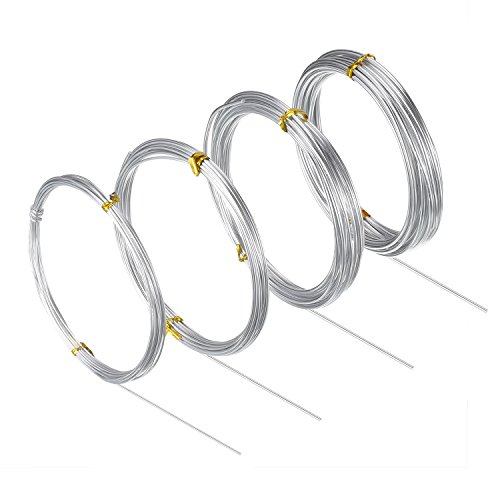 BBTO Aluminum Craft Wire, 4 Sizes (1 mm, 1.5 mm, 2 mm and 2.5 mm in Thickness) Bendable Metal Wire for DIY Sculpture and Crafts, 4 Rolls, Each Roll 16.4 Feet (Silver)