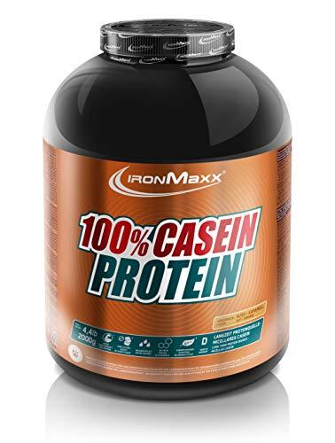 IronMaxx 100% Casein Protein, Nuss-Karamell – Caseinpulver für den Muskelerhalt mit Langzeiteffekt – Muskelaufbau Pulver für die Definitionsphase – 1 x 2000 g Pulver