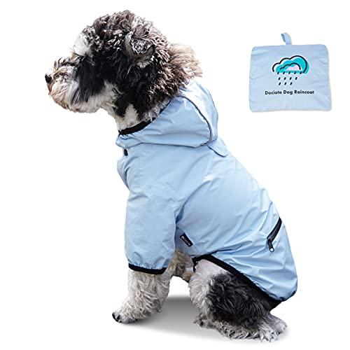 Dociote Hunde Regenjacke Regenmantel mit Kapuze Tasche wasserdichter Hundemantel Reflektierende Regencape für kleine mittelgroße Hunde Katzen Blau M