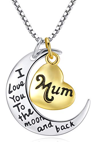 Two-Toned Sterling Silver with Yellow Gold Flashed Heart'Mum I Love You To The Moon and Back' Pendant Necklace, 18' (Mum)