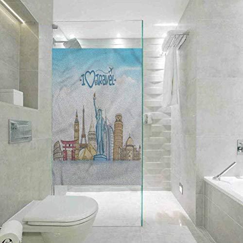 Milchglasfolie, 3D-Fensterfolie, statisch haftend, für Reisen, Urlaub, Liebhaber, Stadt, Sehenswürdigkeiten, Zuhause, Badezimmer, Toilette, Dekoration, 60 x 120 cm (B x L)