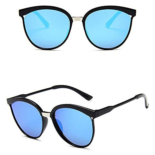 WQZYY&ASDCD Gafas de Sol Gafas De Sol De Ojo De Gato para Mujer Gafas De Sol De Moda con Espejo Gafas De Sol De Ojo De Gato para Sombras Femeninas Señoras Uv400-Azul