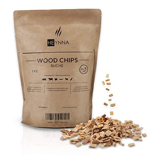 HEYNNA® Virutas de madera de haya, 1 kg, bolsa 100% natural, virutas de ahumado para un sabor suave