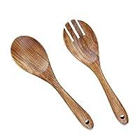 aoosy 2 pezzi servitori di insalata in legno, 10,2 pollici cucchiai da servizio in legno set insalatiera cucchiaio forchetta e cucchiaio manico lungo pinze per insalata utensili da cucina