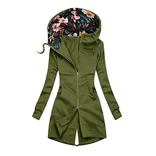 Philippians - Sudadera con capucha para mujer, estilo informal, con estampado, talla grande, para otoño e invierno, Verde militar., XXL
