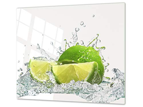 Tabla de Cocina de Vidrio Templado - Tabla de Cortar de Cristal Resistente – Cubre Vitro Decorativo – UNA Pieza (60 x 52 cm) o Dos Piezas (30 x 52 cm); D07G Frutas y Verduras