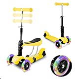 WeSkate Mini Scooter for Kids, Lights Up Scooters for Toddlers Girls & Boys, Adjustable Height, Design for Children Ages 4-8