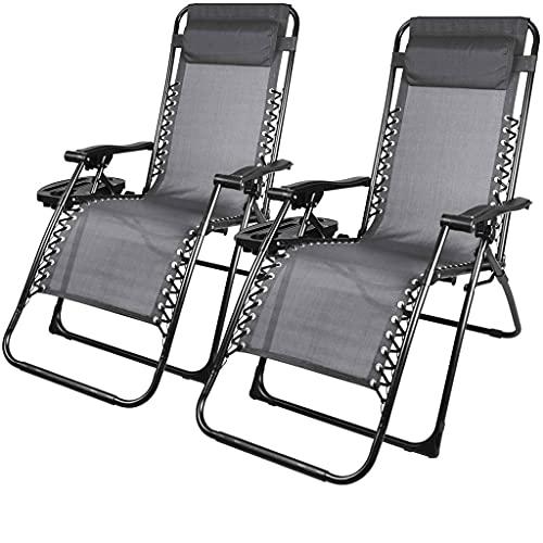 2 piezas de silla de silla de gravedad cero, silla de salón ajustable para exteriores, silla plegable reclinable, con almohada del soporte de la taza, se puede utilizar para la terraza de la terraza d