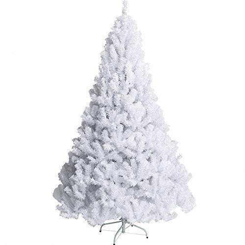 Miarui Verschlüsselter weißer Weihnachtsbaum Christbaum Tanne Künstlicher PVC Weihnachtsbaum mit Ständer 120cm-240cm für Weihnachten-Dekoration,2.4m