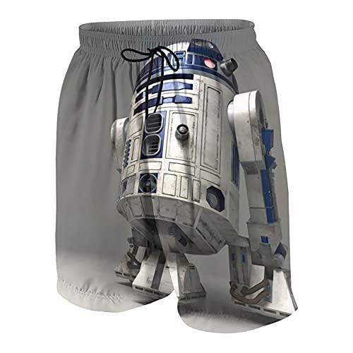 Hdadwy Star Robot R2 d2 Wars Bañador Unisex para jóvenes Shorts de Tabla de Secado rápido Shorts de natación livianos Trajes de baño Delgados Transpirables y Resistentes al Desgaste