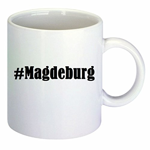 Kaffeetasse #Magdeburg Hashtag Raute Keramik Höhe 9,5cm ? 8cm in Weiß