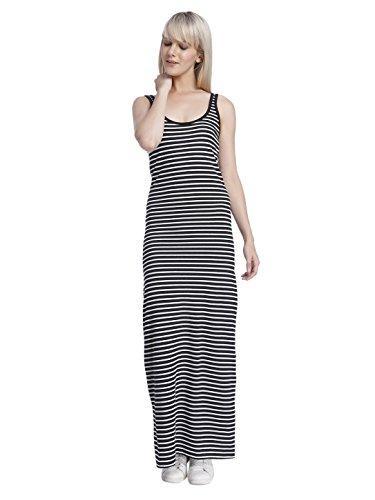 VERO MODA Damen Nanna Sl Ancle Dress Noos Kleid, Schwarz (Black Stripes:Snow White), 34 (Herstellergröße: XS)