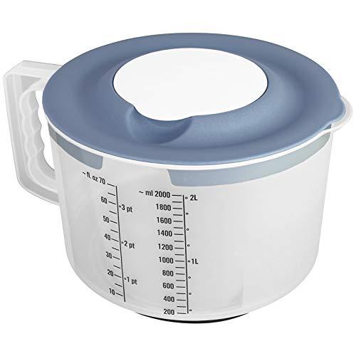 TW24 Messbecher Pastell mit 2tlg. Spritzschutzdeckel 2L mit Farbwahl Mixbecher Rührschüssel BPA frei Teigschüssel Messskala Schüssel (Blau)