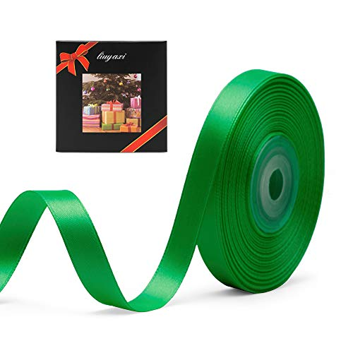 """Solid Color Double Faced Green Satin Ribbon 3/8"""" X 25 Yards, Ribbons Perfect for Crafts, Wedding Decor, Bow Making, Sewing, Gift Package Wrapping and More"""