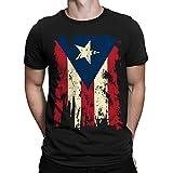 SpiritForged Apparel Vintage Distressed Puerto Rico Men's T-Shirt, Black Large