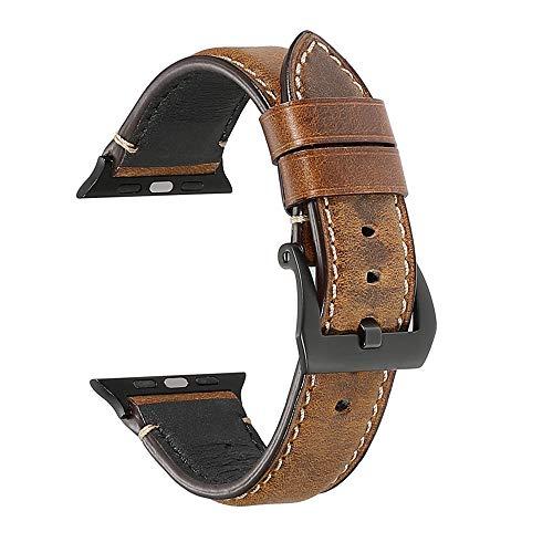 Compatibile con Apple Watch Cinturino 38mm 40mm 42mm 44mm,Cinturini per orologi per uomo donne in Pelle per iwatch 4/3/2/1 (38mm 40mm, deep brown)