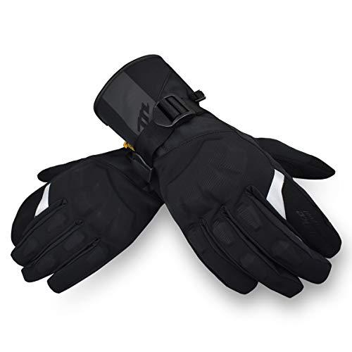 MADBIKE Motorfiets Waterdichte Handschoenen Touchscreen Volledige Vinger voor Mannen Winter Motor Powersports Handschoenen (Zwart, M)