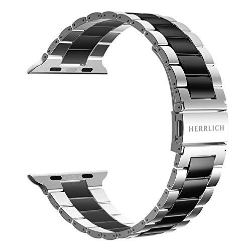 Herrlich Cinturino di ricambio compatibile con Apple Watch 38 mm/44 mm, in acciaio inox, compatibile con iWatch/Apple Watch Series SE/6/5/4/3/2/1 (42/44, argento/nero)