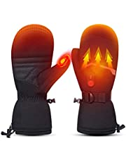 Heated Ski Gloves Mens Women Kids Mittens Electric Rechargeable Battery Gloves for Winter Skiing Skating Snow Camping Hiking Heated Arthritis Hand Warmer Gloves
