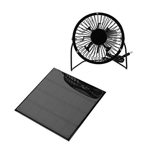 Tbest Solar Ventilator Fan Sonnenkollektor angetriebener Ventilator, 3W 6V im Freien beweglicher Minifan USB Kuehlung Luefter für Reise kampierendes Fischen