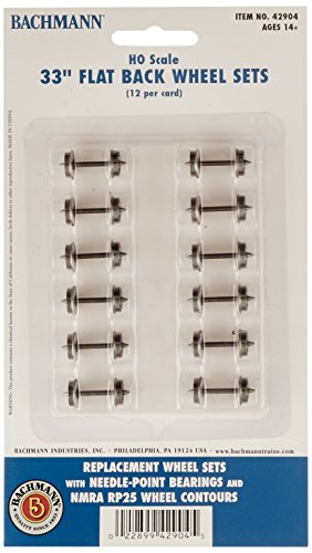 "Bachmann Trains 33"" FLAT BACK WHEEL SETS (12 per card) - HO Scale"