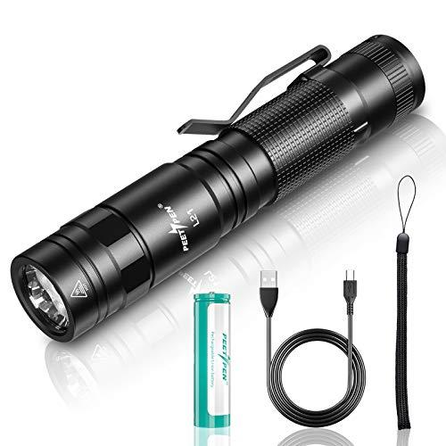 Lampe Torche LED Ultra Puissante Rechargeable USB 500 mètres Longue Portee 1500 Lumens Étanche 5 Modes petite Lampe Torche pour Ménage, Camping, Randonnée, D'urgence