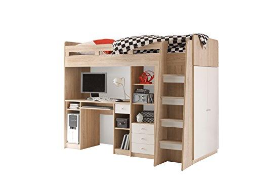 *Stella Trading Unit Bett, Eiche Sonoma/ABS. WEIß, 90 x 200 cm*