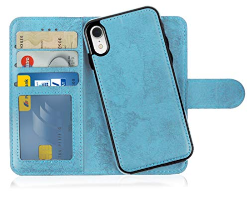 MyGadget Flip Case Handyhülle für Apple iPhone XR - Magnetische Hülle in PU Leder Klapphülle - Kartenfach Schutzhülle Wallet - Hell Blau