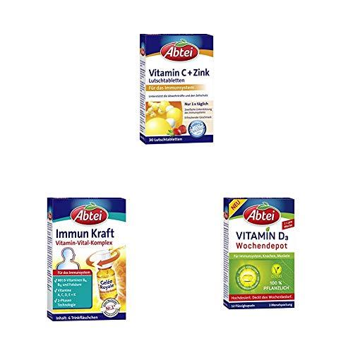Abtei Vitamin C plus Zink (1 x 30 Tabletten) + Vitamin D3 Pflanzlich Wochendepot, auch für Veganer geeignet, 3 Monatspackung, 12 Flüssigkapseln + Immun Kraft, 6 Trinkfläschchen, Vitamin Vital Komplex