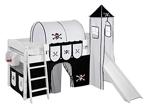 Lilokids Spielbett IDA 4105 Pirat Schwarz Teilbares Systemhochbett weiß-mit Turm, Rutsche und Vorhang Kinderbett, Holz, 208 x 220 x 185 cm