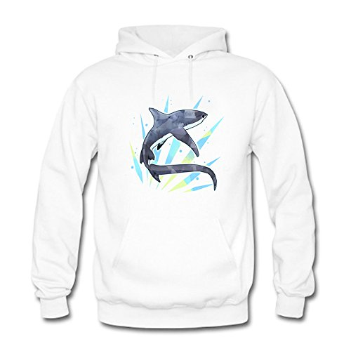 Men's Hoodies Sweater Anime shark printed Pullover Tops Blouse White M