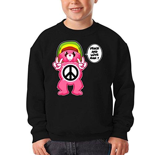 OKIWOKI Die Glücksbärchis Lustiges Schwarz Kinder Pullover - Die Glücksbärchis - Peace and Love Man - Reggae Version (Die Glücksbärchis Parodie) (Ref:341)