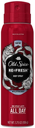 Old Spice Wild Collection Re-Fresh Deodorant Body Spray, Wolfthorn 3.75 oz (Pack of 12)