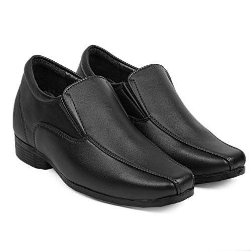 Global Rich Men's 3 Inches Hidden Height Increasing Faux Leather Formal Derby Lace-up Elevator Shoes Black Oxford (728)