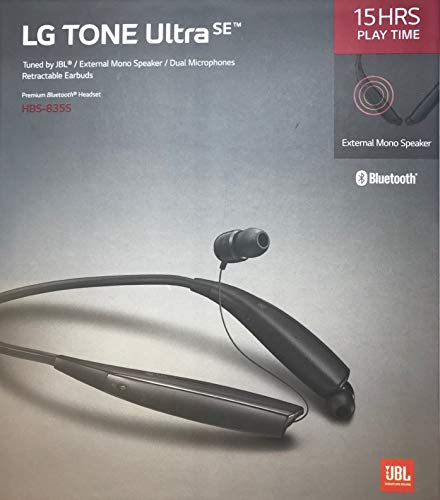 LG Tone Ultra Se Bluetooth Wireless Stereo Neckband Earbuds Tuned by JBL (HBS-835S) - Black