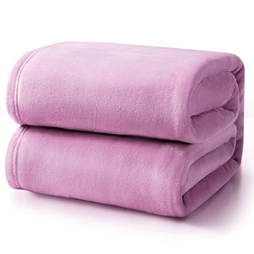 Bedsure Manta para Sofás de Franela 230x270cm - Manta para Cama 180 Reversible de 100% Microfibre Extra Suave - Manta Lila Transpirable