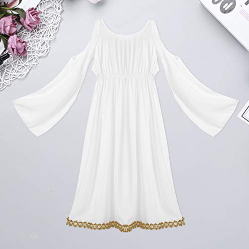 YOOJIA Niñas Vestido Elegante Blanco Disfraz de Diosa Griega Atenea Vestido de Princesa Romana Mangas Largas Disfraz Fiesta 2-14 Años Blanco 8-10 Años