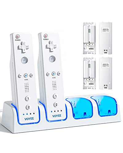 VOYEE Charger Station for Charging Wii Remote Controller with 4 Rechargeable 2800 mAh Battery Packs, 4-in-1 Controller Charger Compatible with Nintendo Wii/Wii U Controller - White