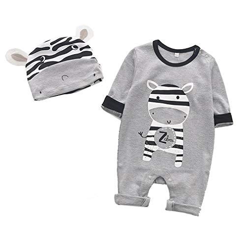 mama stadt Neugeborene Jungen Mädchen Kleidung Sets,Baby Tierspielanzug Strampler + Hut Outfits Pyjamas,Zebra 2PC