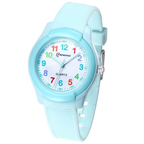 Relojes Analógicos para Niñas,Niños Impermeable Fácil de Leer Relojes de Pulsera con Correa Suave para Niñas (Número del Color-Azul)