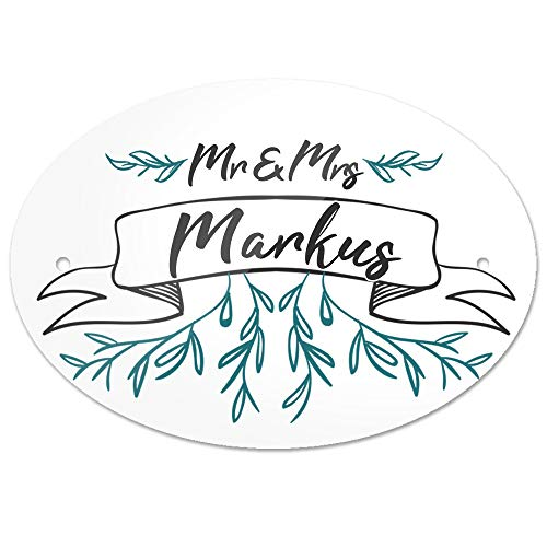 Eurofoto Türschild mit Nachnamen Markus und Motiv - Mr & Mrs Markus im Zeichenstil | für den Innenbereich | Klingelschild