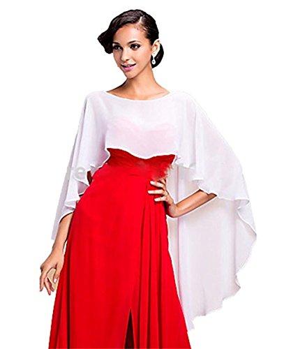 Auxico Auxico Chiffon Stola Schal für Kleider in verschiedenen Farben perfekt zu jedem Brautkleid Abendkleid, Hochzeit Abend Gala (Weiß, one size)