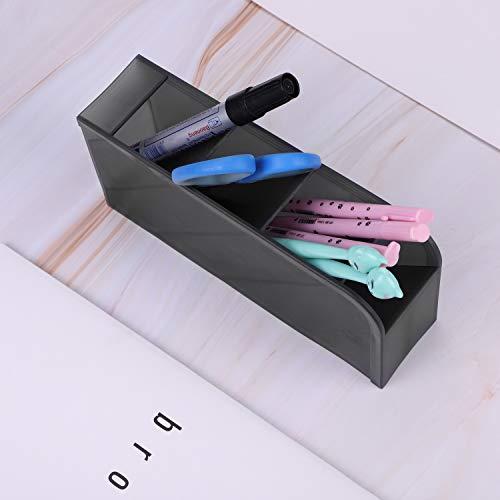 2 portalápices inclinado simple, creativo, con compartimento, multifuncional, para lápices, de plástico transparente, para escritorio, organizador de papelería, suministro, cajón